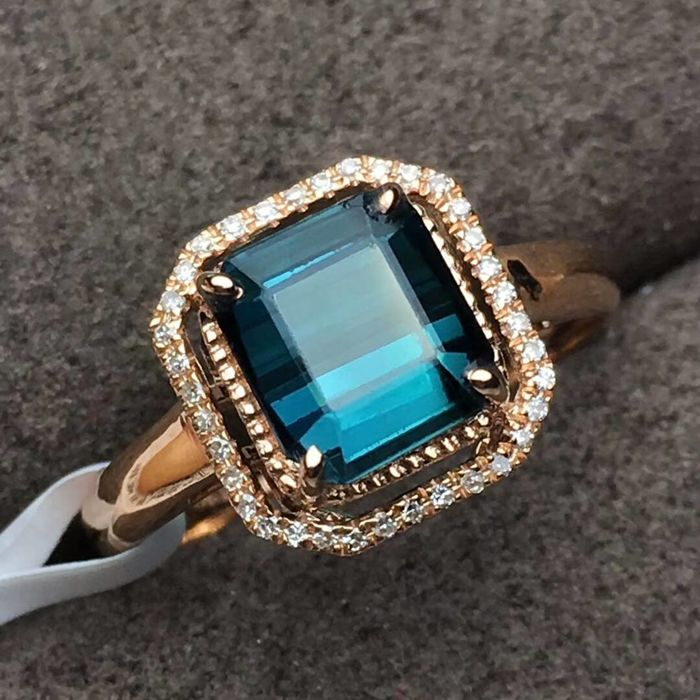 2.2 Carat Tourmaline Ring In 18K Solid Gold with Diamond; Ring Size: 6.75 - Free resizing