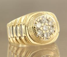 14 kt bi-colour gold ring set with brilliant cut diamonds, 0.60 carat, ring size 18.75 (59)