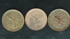 The Netherlands - 1 cent 1884, 1892, 1898 Willem III and Wilhelmina - 3 pieces - bronze