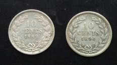 The Netherlands – 10 cents 1889 and 1890 William III – Silver