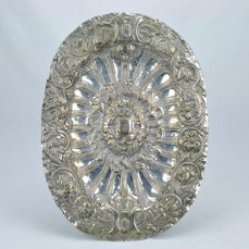 A Baroque silvered bronze or brass platter -  probably Italy - 18th century