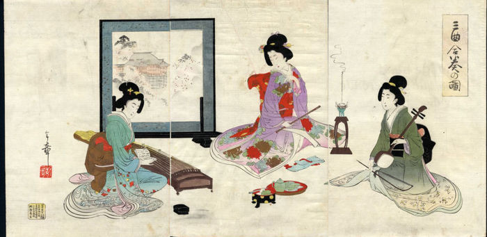 "Originele houtsnede door Nakazawa Toshiaki (act. 1887-1900) - ""Three Performances"" - Japan - 1895"