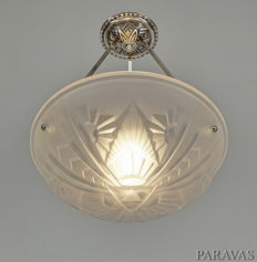 H.Mouynet & Degué - Art Deco chandelier - nickel plated bronze and moulded glass