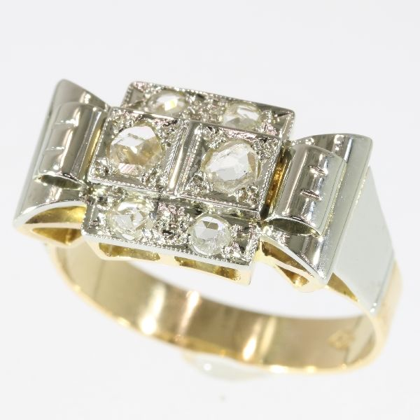 Gold retro ring set with rose cut diamonds - 1950