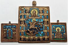 "Russian Orthodox travel icon "" Saint Dimitri -Grand Duke of Moscow Dimitry Donskoy"" and two small icons ~20 th century"