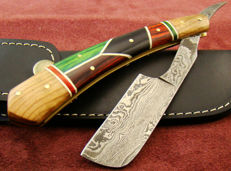 Damascus Steel Handmade Razor knife Damascus steel blade - Hand Stitched Cow Hide Leather Sheath