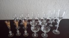 Collection of 23 beautiful crystal glasses