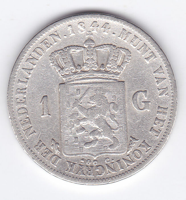 The Netherlands – 1 guilder coin, 1844, Willem II, silver