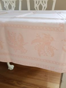 Stunning old pink antique silk damask tablecloth. 202 x 141. Reasonable shipping costs.