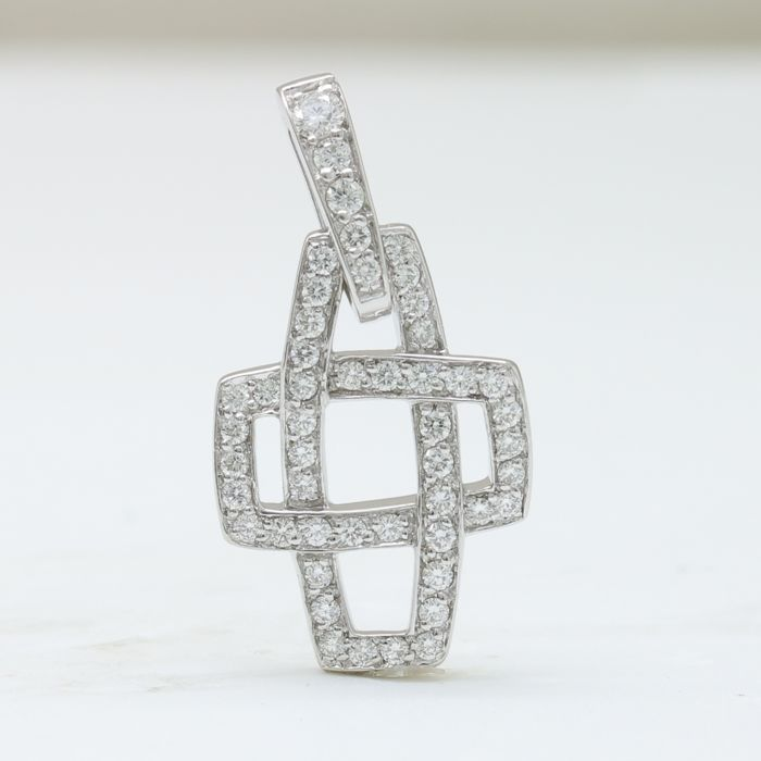 18 kt white gold pendant with 0.57 ct in brilliant cut F–G (fine white) / VVS diamonds - NO RESERVE
