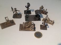 Eight silver miniatures on base, the Netherlands, 2nd half 20th century