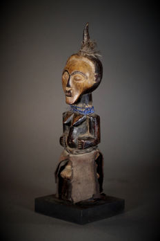 Old African tribal SONGYE Personal Power Figure Nkisi with mask. D.R.C. Democratic Republic of the Congo.