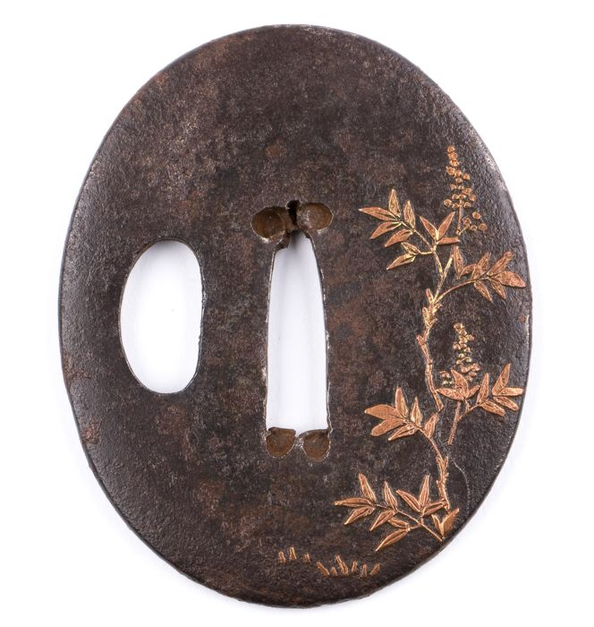 Iron sukashi tsuba - Copper inlay - Japan - 18th/19th century
