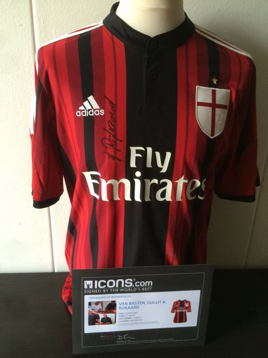Van Basten, Gullit & Rijkaard - Official Signed AC Milan shirt + COA and Photoproof ICONS!