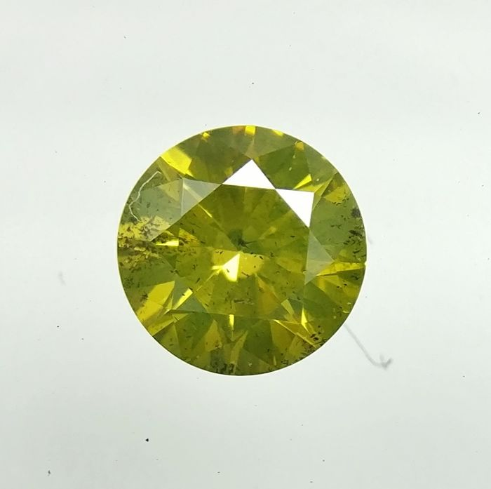 0.29 ct Round cut diamond Fancy Deep Greenish Yellow SI1  -No Reserve