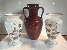 """Lot of French vases - pair of large vases in white opaline decorated with flowers gilded with fine gold and 1 large vase in """"St Clément"""" porcelain France."""