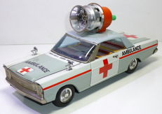 MT-Masudaya, Japan - Length 29 cm - Tin Ford Galaxie with friction motor and siren, 1960s/70s