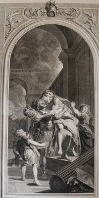 """Enée portant son père Anchise"" 1719 - after Antoine Coypel (1661-1772) - Virgil, Aeneid, Song II - Louis Desplaces (1682-1739), engraver."