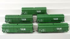 "Roco H0 - 66116/66740/66743 - 5 Garbage wagons ""VAM Compost"" of the NS"