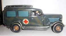TippCo, Germany - length 24 cm - Tin clockwork medical car including driver and wounded person on a stretcher, 1930s