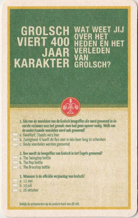 Nice Collection Of More Than 270 Different Grolsch Beer Coasters