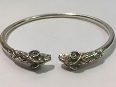 Vintage, silver bracelet with two ram's heads - 1950