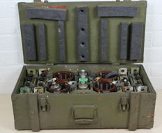 Wooden army chest with electronic radio parts