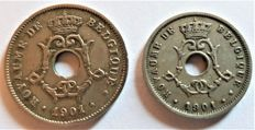 Belgium - 5 and 10 centimes 1901 French - Leopold II, type Michaux - copper/nickel