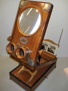 Antique Luxury table stereo observer, graphoscope for cards 9 x 18