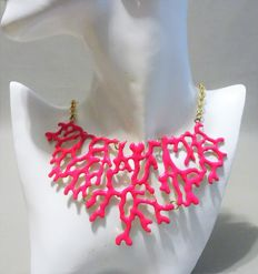 "Signed Kenneth Jay Lane - Coral Branch Necklace ""Couture Collection"""