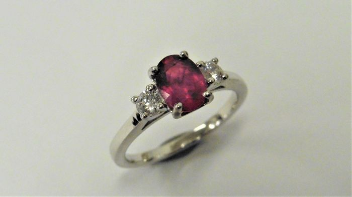 18k Gold Ruby and Diamond Trilogy Ring - size 53