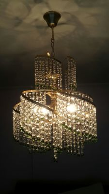 A brass and green spiral crystal chandelier, 1970s
