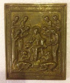 "Russian Metal Icon ""Advanced Deesis"" - 19th Century"