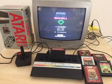 Atari 2600 Original box games console with 1 Joystick and 6 games