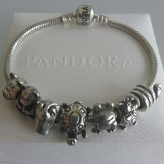 Pandora bracelet with 7 charms - Silver - 925 - 18.5 cm