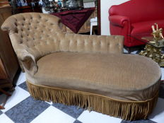French Chaise-longue recently re-upholstered, ca. 1940's
