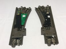 Märklin H0 - 24611/24612/74490,/74460 - C-rail switches to the right and left, both with point drive and decoder (2348)