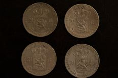The Netherlands - 2½ guilders 1858-1874, Willem III - 4 different - silver