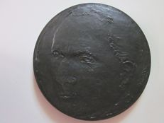 Francoise Salmon - large bronze medal with black lava patina