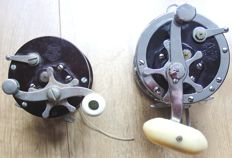 Two fish reels PENN and SENATOR and old fishing bucket with old bag