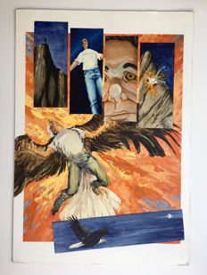 Very Large Painted Original Art Page By Mike Sellers - Acrylics - Man Transforming Into Eagle - (2008)