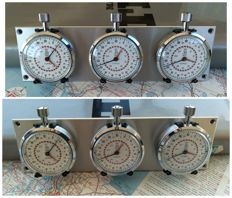 Rare 3x vintage Corso (Heuer) 1/10 sec Stopwatches Rally / Race dash mounted set. 1960 - 1980.