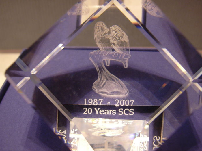 Swarovski - Silver Crystal paperweight Cube Lovebirds 20 years SCS