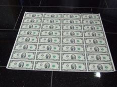 USA - 2 dollar 2009, complete uncut sheet of 32 pieces