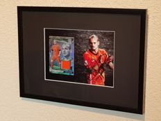 Wesley Sneijder - hand signed wallpaper + Framed Panini Player worn material Card Limited Edition + COA