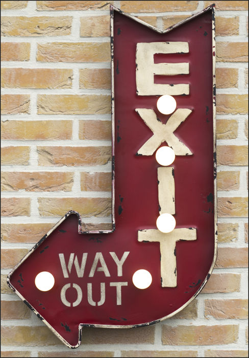 EXIT WAY OUT metal arrow-shaped directional sign with illumination