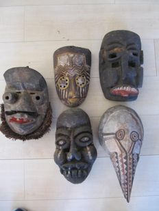 Africa, Ivory Coast - 5 different masks