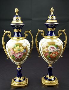 Pair of French porcelain amphorae - ACF Marked Sevres - classic Imperial Napoleonic style - recent