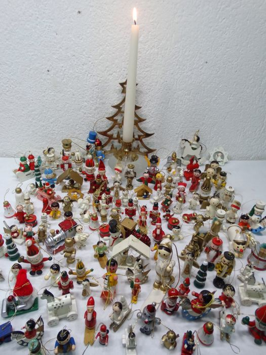 170 pieces of hand painted wooden christmas decorations and brass christmas tree candle holder - Wooden Christmas Decorations