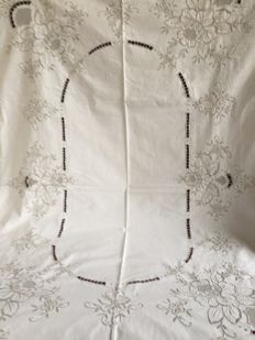 Large hand embroidered cotton ecru coloured tablecloth. 165 cm by 200 cm